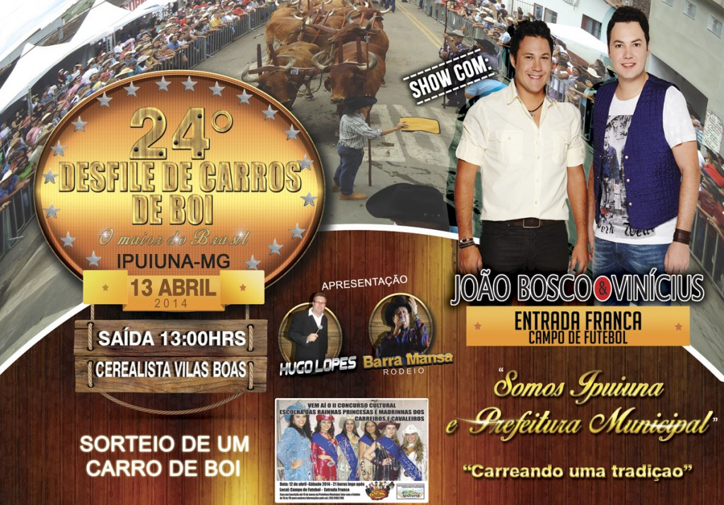 Cartaz do 24 Desfile de carros de boi com João Bosco e Vinícius em Ipuiuna